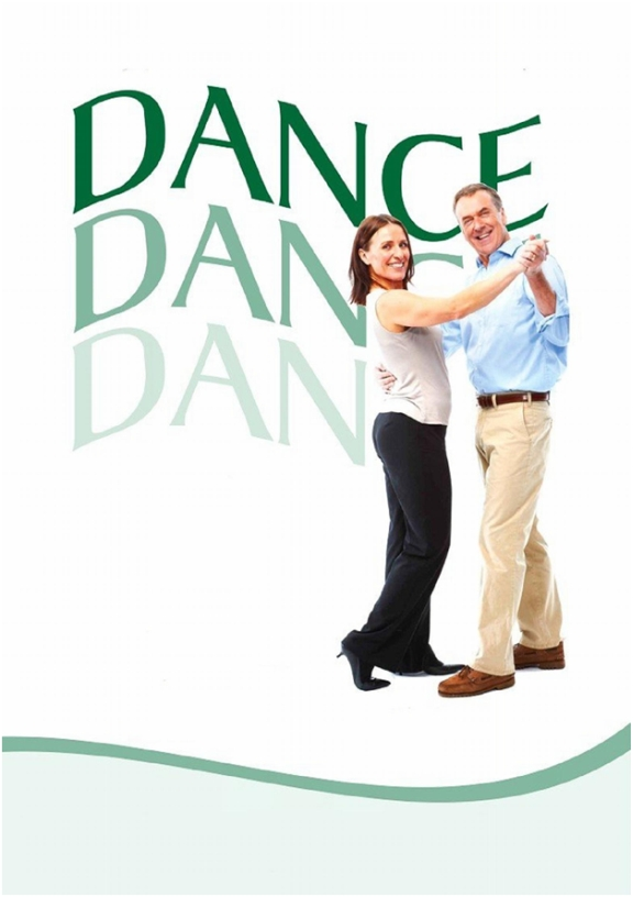 Dance Graphic with Couple Standing in Dance Pose